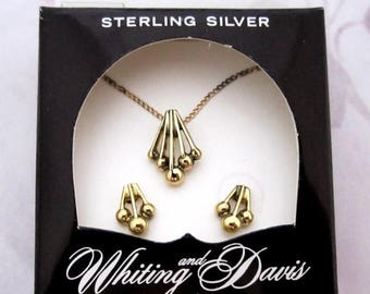 ON SALE- vintage Whiting and Davis Sterling Silver 925 gold plated Vermeil demi parure necklace and earring set in original Box NIB - j6161
