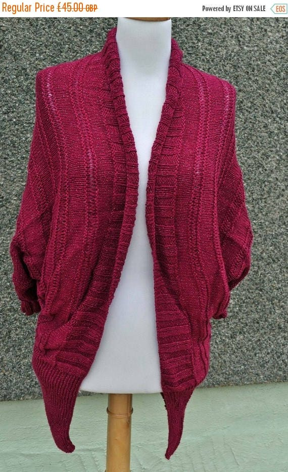 Christmas In July Handknitted Batwing Cardigan in Burgundy and Silver