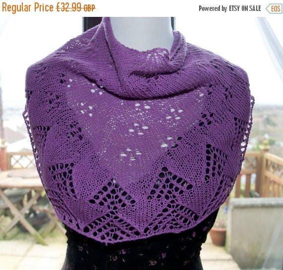Christmas In July Handknitted Shawl in Mauve
