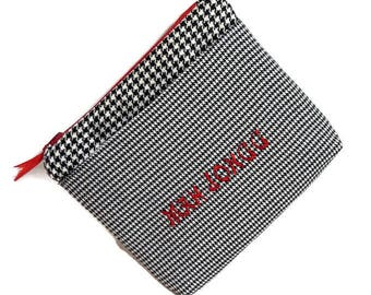 Mah Jongg Bag -  Black and White Houndstooth - Red Accents