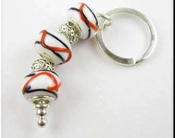 European Style Keychain Car Accessories Chunky Beads Red, White and Black Swirl and Silver Tibetan Beads Key Chain