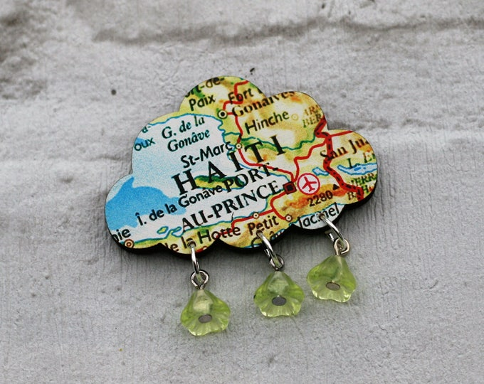 Rain Cloud Brooch, Wooden Weather Brooch, Cloud Badge, Wood Jewelry