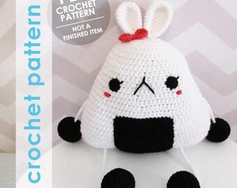 amigurumi crochet pattern, giant onigiri rice ball bunny rabbit plushie, kawaii stuffed animal, nursery decor stuffed animal, crochet food