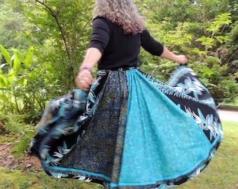Six Panel, Full Circle, Extra Long, Maxi, Bohemian Cotton Skirt