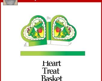 Frog Heart Treat Basket Green