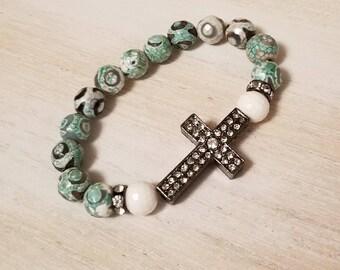 Agate bracelet, beaded bracelet for women, cross bracelet, boho jewelry, mothers day gift mom gifts from daughter, confirmation gift girls