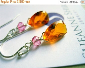 QUICKIE SALE 15% OFF, Mandarin Garnet Colored Quartz Earrings, Mini Sunshine on a Cloudy Day Chandeliers, gemstone earrings