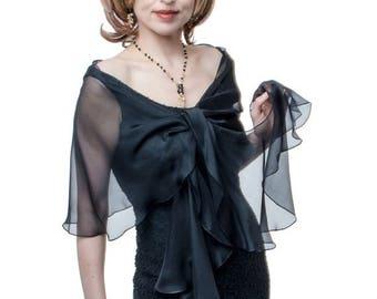 Promo Sale: Evening  Wrap- Shawl - Scarf  Black Silk Chiffon