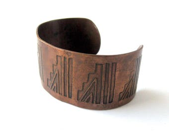Vintage Copper Cuff Bracelet / Southwest Jewelry / Native American Jewelry / Geometric Design / Boho Chic / Hippie Chic