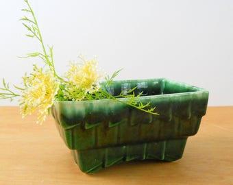 Vintage Drip Glaze Planter • Large Mid Century Planter • 1960s Green Planter