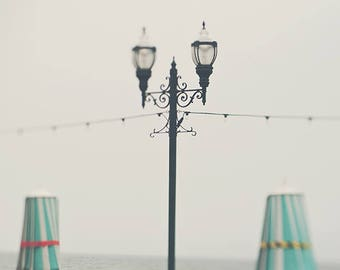 Santa Cruz boardwalk photo, beach photography, peppermint blue green umbrella California girls room art iron lamp post, dreamy, ocean print