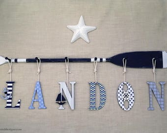 """58"""" 6PEG Paddle Rack with Six 9"""" Baby Name Wood Letters Nautica Marine Collection White Navy Green Baby Blue Washed Striped Canoe Paddle Oar"""