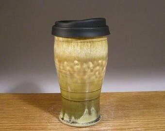 20 oz , Handmade Pottery, Ceramic Travel Mug , Commuter Mug , Pottery Travel Mug , with Reusable Silicone Lid