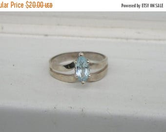 ON SALE Pretty Sterling Silver Blue Topaz Aquamarine Marquee Ring size 9 1/2