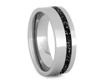 Polished Titanium Wedding Band With Offset Black Stardust Pinstripe, Unique Meteorite Ring, Outer Space Jewelry