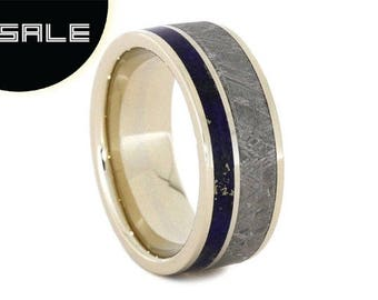 SALE - Meteorite Ring With Lapis Lazuli, 14k White Gold Wedding Band, Custom Lapis Lazuli Ring