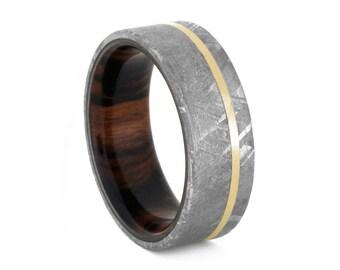 Gibeon Meteorite Wedding Band With Desert Ironwood Sleeve, Wood Ring With 14k Yellow Gold Pinstripe