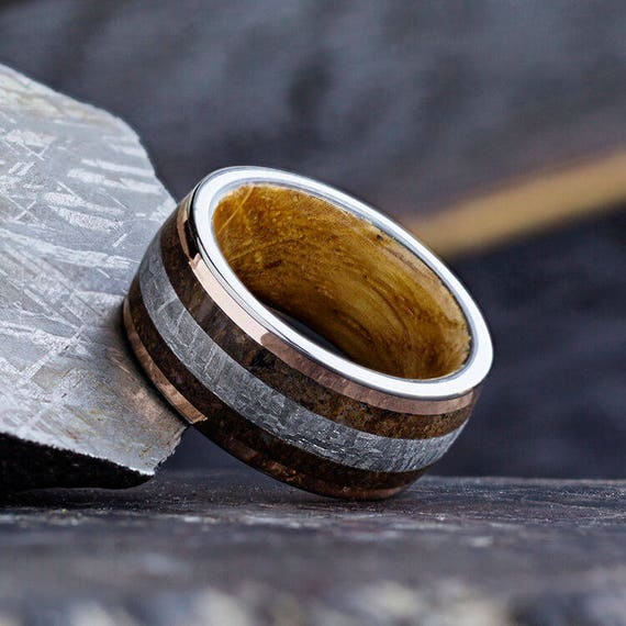 rose gold fossil ring meteorite wedding band with whiskey oak. Black Bedroom Furniture Sets. Home Design Ideas
