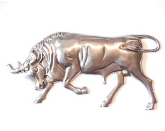Old Large Steel Stampeding Bull Stamping