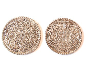 Pair of Oversized Round Two Sided Charms with Floral Design