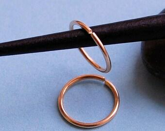 Rose Gold Hoop Earrings * Pair of Hoops * Gold Sleeper Hoops * Tiny Hoop Earrings * Gold Hoops * Choose Your Size
