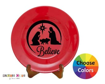 Charger Plate Vinyl Decal Home Decor Christmas Nativity Believe Car Window Laptop Wall DIY Gift Choose From 25 Colors