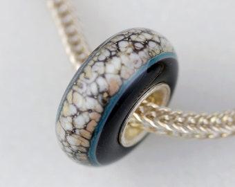 Unique Organic Centered Bead  - Artisan Charm Bracelet Bead - (MAR-46)