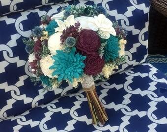 Teal, Plum, blue and ivory Wedding Bouquet - sola flowers - choose colors - bridal bouquet - Alternative bouquet - bridesmaids bouquet