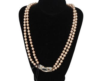 VINTAGE Small Faux Pearl NECKLACE 2 Strands