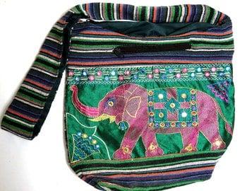 Embroidered Elephant Tote/ India Ethnic Boho Mirrored Handbag Purse/ HIPPIE Cross Body Messenger Shoulder Bag