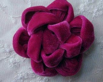 3.5 inch Fuschia Velvet Ribbon Rose Fabric Flower Applique Hat Corsage Pin Baby Pageant Bridal Hair Accessory Applique