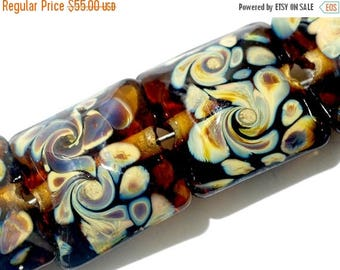 ON SALE 35% OFF Seven Brown w/Twisted Beige Dot Pillow Beads -11102604-Handmade Lampwork Glass