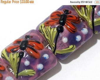 ON SALE 30% off Glass Lampwork Bead Set - Four Red Dragonfly/Violet Garden Pillow Beads 10603114