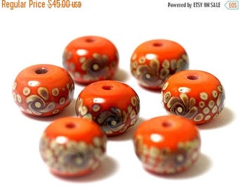 ON SALE 30% off Handmade Glass Lampwork Bead Set - Seven Coral w/Beige Rondelle Beads 11102701
