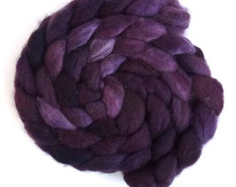 BFL Wool Roving - Hand Painted Spinning Fiber, Pathway Shadows