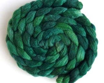 Spring Grass, Polwarth/Silk Roving - Handpainted Spinning or Felting Fiber