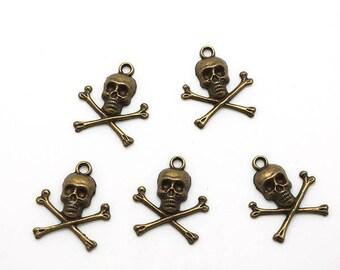 bronze skull 5 skull charms