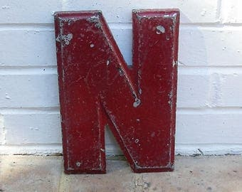 Vintage Metal Sign Vintage Marquee Letter N Sign Vintage Metal N Sign 10 Inches Tall
