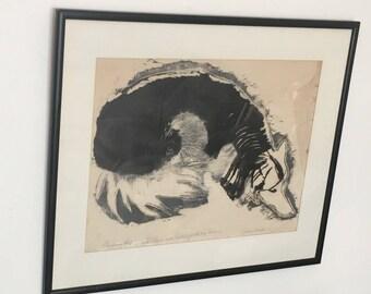 Sylvia Wald Unique Handpainted Silkscreen, Ink, 1963, Modern Gestural Figurative