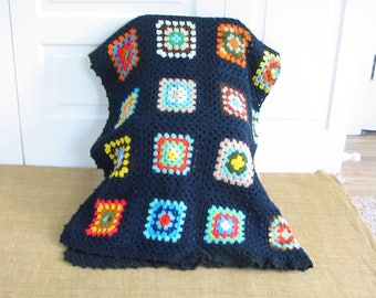 Vintage Granny Square Afghan, Vintage Blanket, Vintage Colorful Afghan, Granny Square Blanket, Vintage Throw, Vintage Colorful Afghan