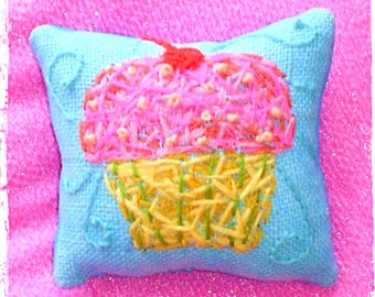 Valentine Gift Sweet Thing Cupcake Mini Embroidered Pillow Made to Order YelliKelli