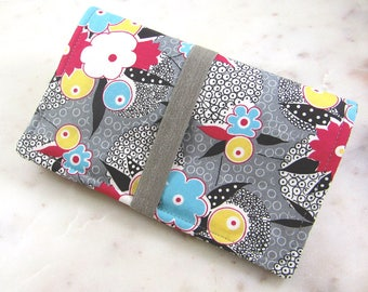 Modern Gray Floral Family Passport Wallet, Holds 4 Passports, Passport Holder, Passport Cover, Travel Documents, Travel Wallet Case, Holiday