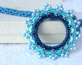 Crystal Statement Necklace  Blue Turquoise Jewelry Summer Sky