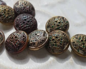 Vintage Buttons -10 small wonderful novelty matching bronze filigree  Victorian,(July 376 17)