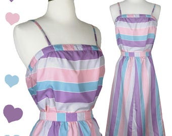 Vintage 80s Set // Pastel Stripe 2 Piece Top & Skirt Set S by The Limited Sleeveless Straps Striped Blue Pink Purple Light Airy Summery Crop