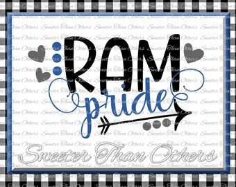 Ram Pride Svg, Football Ram, Baseball Ram, Basketball Ram, Vinyl Design SVG DXF Silhouette Cameo Cricut Instant Download