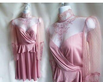 Vintage 70s Dress Size S M Mauve Pink Lace Jersey Bridesmaid Cocktail Edwardian