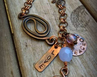 Pure Copper Peace and Love Bracelet, Hand-formed Metalwork, Ready to ship