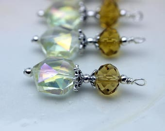 Clear AB Hexagon Crystal with Yellow Pendant Bead Earring Dangle Pendant Charm Drop Set