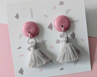 Pink & grey tassel earrings